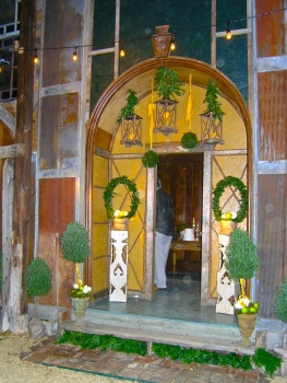 A door in the barn decorated for Cameron's wedding reception dinner.
