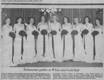 Beth Hardy Duff 1979 Debutantes in Greenwood, MS. Beth is third from the left.