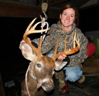 Emmaline Hardy and her Christmas deer 2012