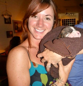 Emmaline Hardy with puppy 2012