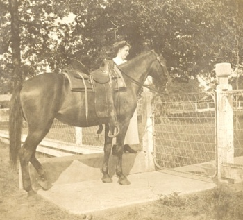 Fannie Cady with horse, Billups Gate