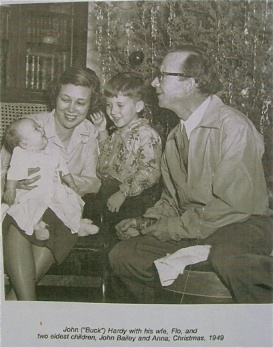 Flo and Buck Hardy with baby Anna and son John Bailey Christmas 1949