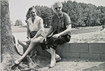 Flo Hardy on the left with unknown friend
