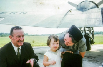 Jennings and Fan Hardy with grand daughter, Beth Hardy ready to board a DC 3 to Canada