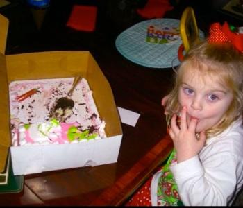 Julia Hardy with Birthday cake