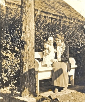 Lenore Hardy Billups with Carleton near garden house