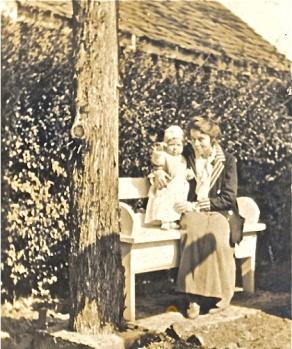 Lenore Hardy Billups with Carleton near garden house