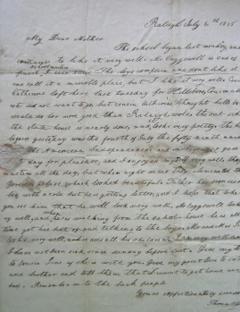 Letter dated 1835 to his Mother, signed Thomas