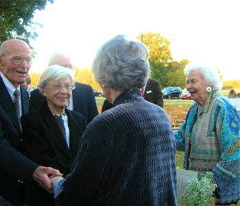 Tom and Sue Hardy with Anne Hardy greeting Betty at Cameron's wedding.