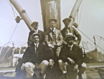 Unknown Hardy men on fishing boat