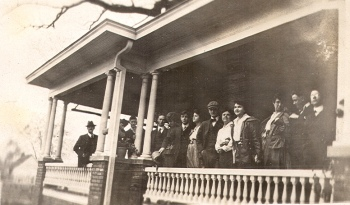winter house party on porch, Blythewood, Buck Hardy Collection